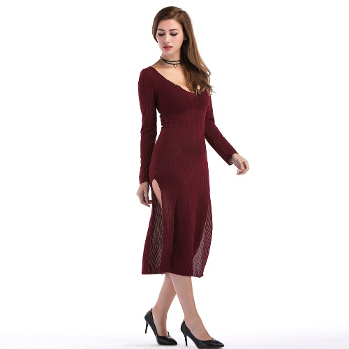 Sexy Women Curve Ribbed Dress Split Side Scoop Neck Long Sleeve Midi Dress Grey/Burgundy