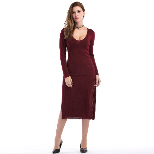 Sexy Women Curve Ribbed Dress Split Side Scoop Neck Long Sleeve Vestido Midi Cinza / Borgonha