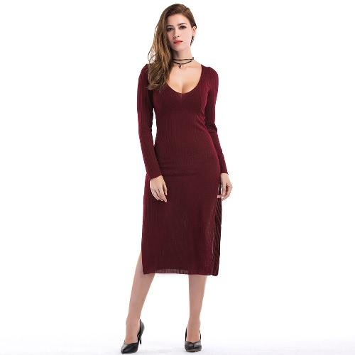 Sexy Frauen Curve Ribbed Kleid Split Side Scoop Neck Langarm Midi Kleid Grau / Burgund