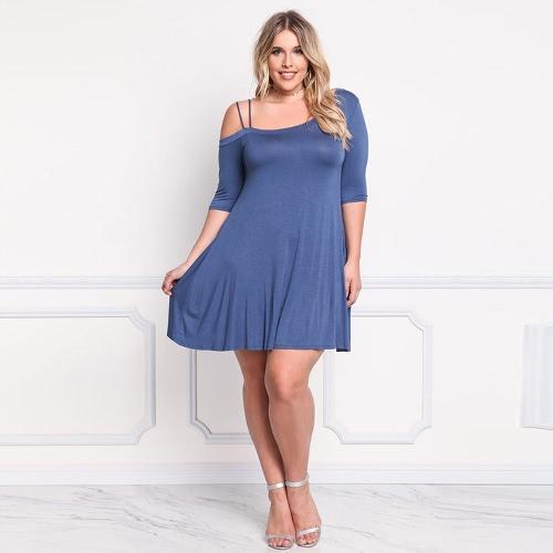 Women Plus Size Off Shoulder Dress Hollow Out One Shoulder Half
