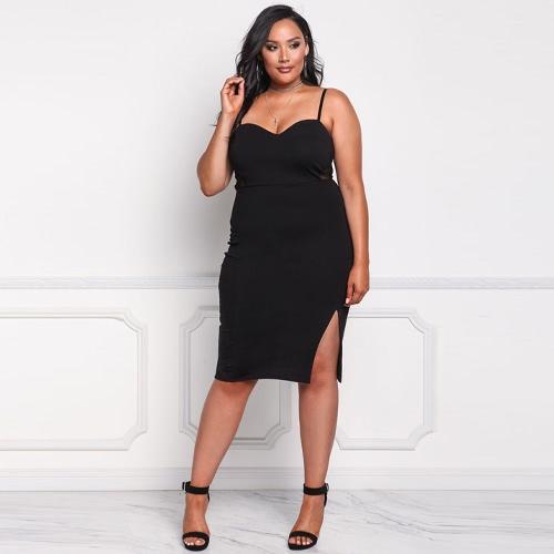 Sexy Bodycon Spaghetti Strap Backless Slit Hem Women's Plus Size Dress
