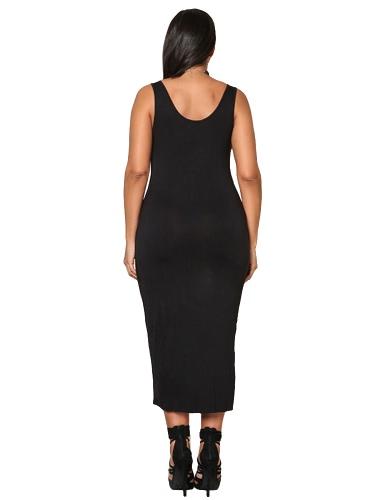 Sexy Women Plus Size Sleeveless Dress Deep V Neck Asymmetric Ruched Solid Slim Bodycon Large Size Dress Black/Blue/Grey