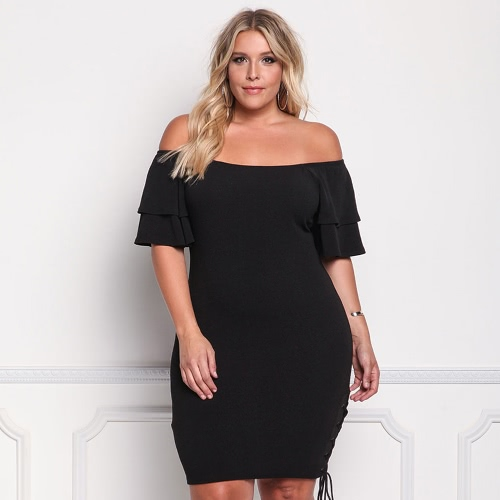 Sexy Women Plus Size Slash Neck Bodycon Dress Off Shoulder Ruffle Sleeve Side Lace Up Bandage Party Dress