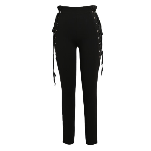 Sexy Women Side Lace Up Spodnie Wysokie Obwód Criss Cross Skóra Tight Pencil Spodnie Bandage Trousers Coffee / Black