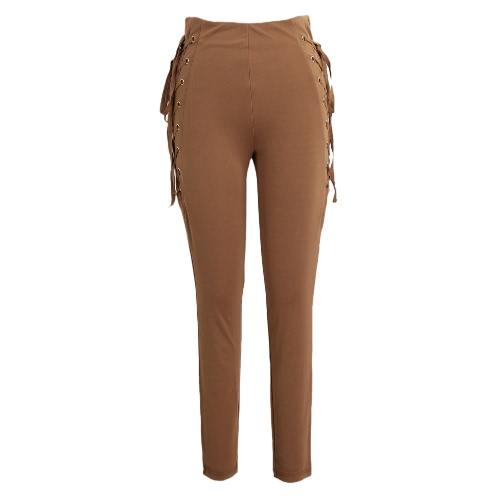 Sexy Women Side Lace Up Pantalones de alta cintura Criss Cruz Skinny apretado lápiz pantalones vendaje Pantalones Café / Negro