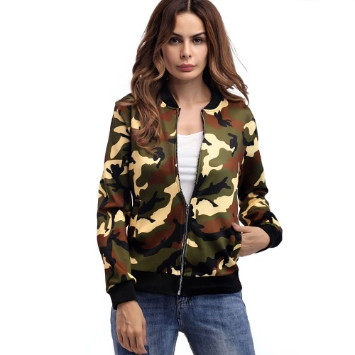 Autumn Winter Women Camouflage Bomber Jacket Zipper Baseball Coat Casual Streetwear Outerwear Grey/Army Green