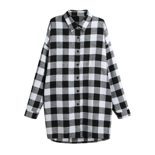 Camicia a maniche lunghe a manica lunga in cotone da donna in cotone Irregular Plus Size Casual Check Tunica Long Blouse Top Nero / Rosso
