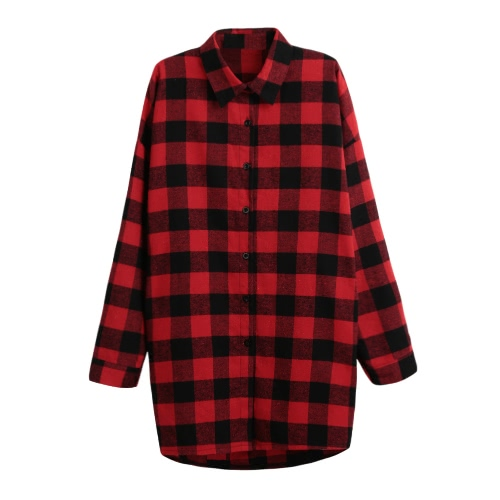 Mujeres de algodón Plaid camisa de vestir de manga larga irregular Talla más largo Casual Cheque Blusa larga Top Negro / Rojo