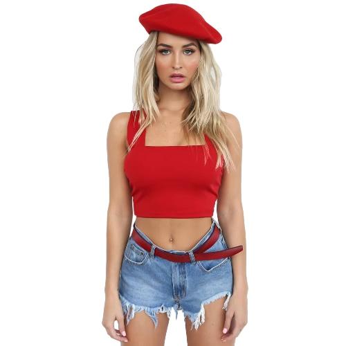 Seksowna Sukienka Bez Rękawów Sexy Women Bustier Crop Top Bralette Przybytek Camis Tank Top Red