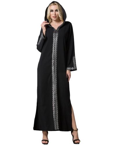 Mode Frauen Mittlerer Osten Mit Kapuze Kleid Langarm Side Slit Muslim Robe Islamic Arabia Abayas Schwarz