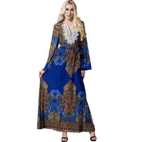 Vestido largo bohemio de la manga de la llamarada del vestido largo de la playa de las mujeres Vestido islámico de la arena islámica Sundress