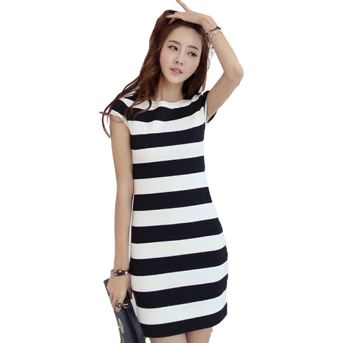 Sexy Striped Print Cut Out Tie Bow Backless Bandage Women's Casual Dress
