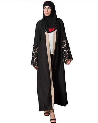 Autumn Women Muslim Robe Crochet Lace Cuff Long Sleeve Front Open Long Cardigan Abaya Vestido Preto