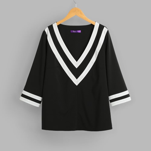 Women Deep V Neck Blouses 3/4 Sleeves Color Block Striped Sexy Loose Casual Shirts Blusas Pullover Top