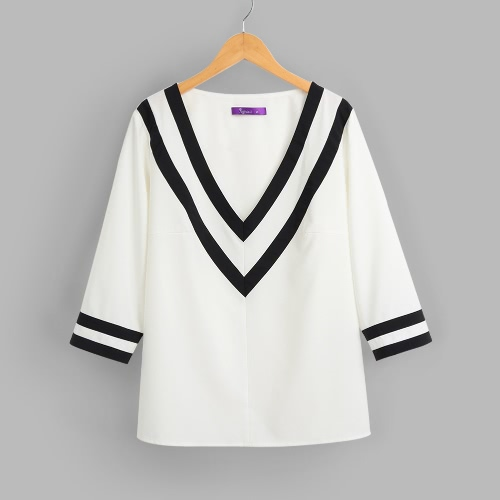 Casual Deep V Neck  3/4 Sleeves Color Block Striped Women's Blouse