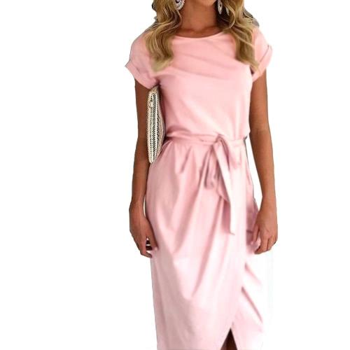 Lato Kobiety Maxi Sukienka Okrągły Krótki Krótki Krótki Rękaw Asymmetrical Belted Casual Solid Boho Long Dress