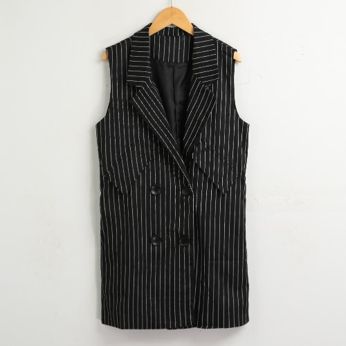 New Women Winter Striped Vest Waistcoat Botões sem mangas Split Elegant Long Jacket Outwear Top Preto / Branco
