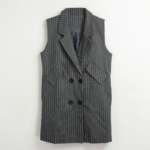 El nuevo chaleco rayado del chaleco del invierno de las mujeres sin mangas abotona la chaqueta larga elegante rajada Outwear la tapa negra / blanca