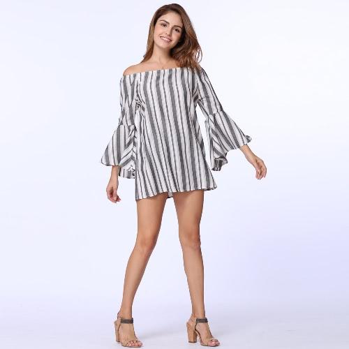 Sexy Off Shoulder Stripe Elastic Slash Neck blusa com blusa com blusa com blusa