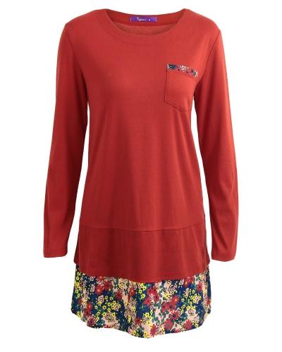 Vintage cuello redondo bolsillo Hem floral de manga larga de las mujeres mini vestido