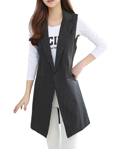 Chaqueta larga sin mangas del chaleco de las mujeres de la manera partida escotada casaca de la capa de OL de la chaqueta delgada de la prendas de vestir exteriores Black1 / Black2