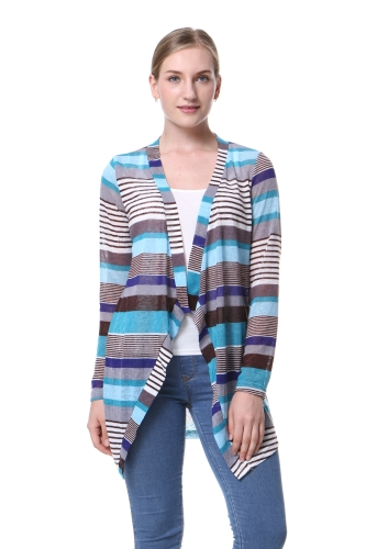 Casual Cable Knit Cloak Cardigan Estampado geométrico frente