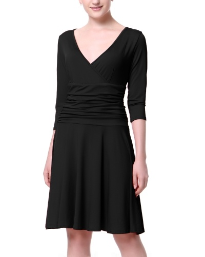 Mixfeer Women's Slimming 3/4 Sleeve Fit-and-Flare Crossover Tummy Control Dress