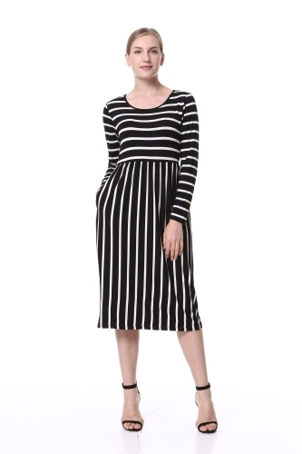 Mixfeer Women's Casual Dress With 3 4 Sleeve O-Neck Stripe Elastic