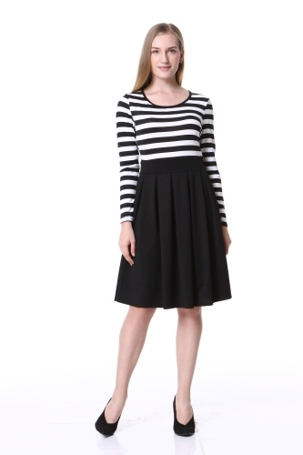 Mixfeer Women's Stripe Vintage Scoop Neck Short Sleeve Swing Dress