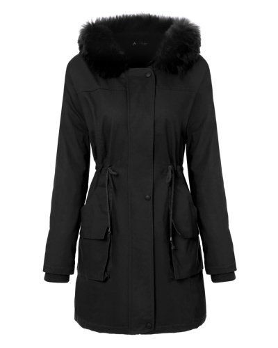 Mixfeer Women's Warm Hooded Parkas With Faux Fur Lined Long Coats