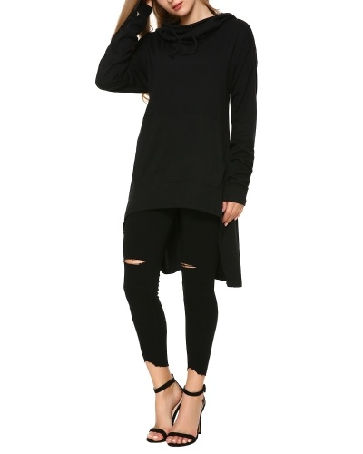 Mixfeer Womens High Low Tunic Sweatshirts Dress String Hoodie With Pocket