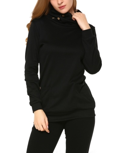 Mixfeer Womens Long Sleeve Casual Slim Tunic Tops With Pockets