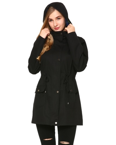 Women's Versatile Militray Hoodie jackets with Drawstring