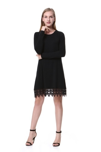 Mixfeer Women's Long Sleeve A-line Lace Stitching Trim Casual Dress