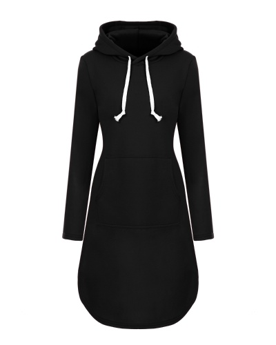 Mixfeer Women's Plus-Size Long Sleeve Pullover Fleece Hoodie Sweatshirt Dress