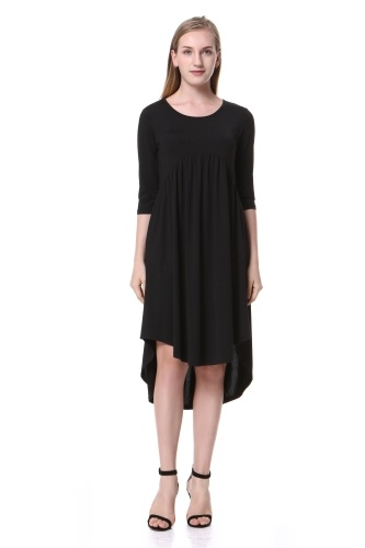 Mixfeer Women's Scoop Neck Pockets High Low Pleated Loose Swing Casual Dress