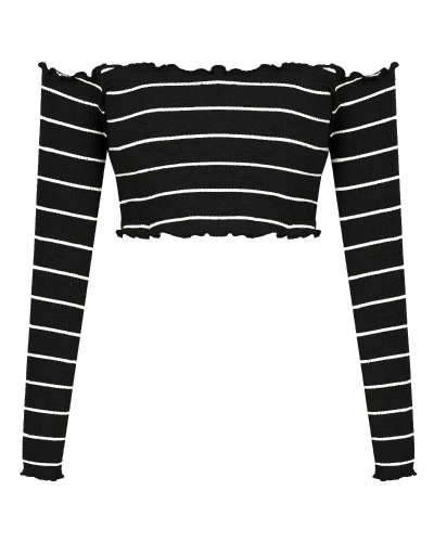 Women's Sexy Strapless Long Sleeve Slim Rib-Knit Sweater Pullover Tube Crop Top