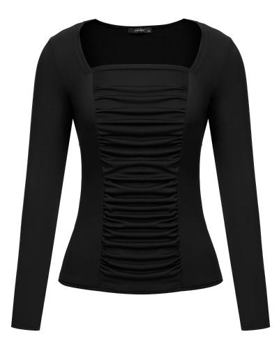 8f13206d8ef78 Slim Fit Stretchy Off Shoulder Long Sleeve Blouse Tops Shirt ...
