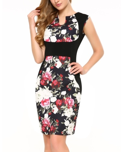 Sleeveless Deep V Neck Floral Print Cocktail Party Pencil Dress
