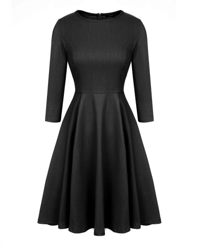 Women's 3/4 Sleeve Knit Fit-and-Flare Dress Black S