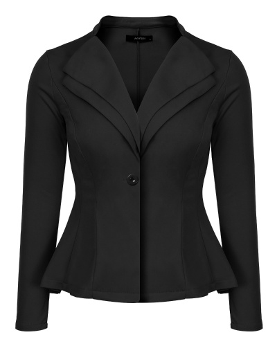 Double Notch Lapel Sharp Shoulder Pad Office Blazer