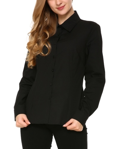 Womens Tailored Long Sleeve Button Down Shirt with Stretch