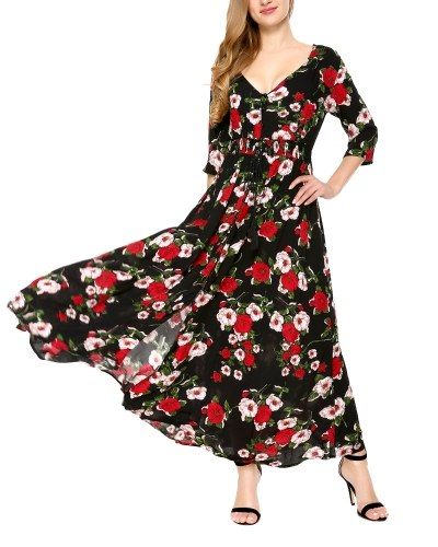 Button Up Split Floral Print Flowy Party Maxi Dress  Black S