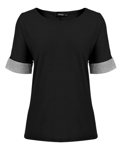Women's Casual Round Neck Loose Fit Short Sleeve T-Shirt Blouse Tops Black S