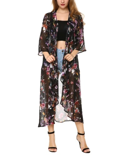 Women's Chiffon Kimono Beach Bikini Cover Up Floral Cardigan Black S