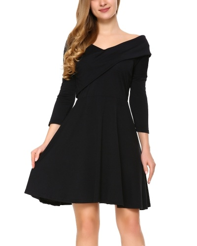 Womens Long Sleeve Knitted Sweater Pullover Swing Solid Slim Fit Wrap Midi Dress Black S