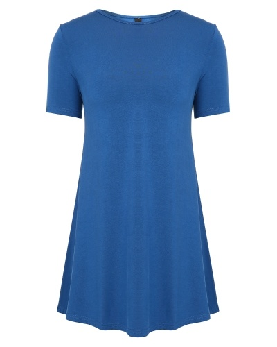 Women's Short Sleeve Loose Fit Flare Hem T Shirt Tunic Top