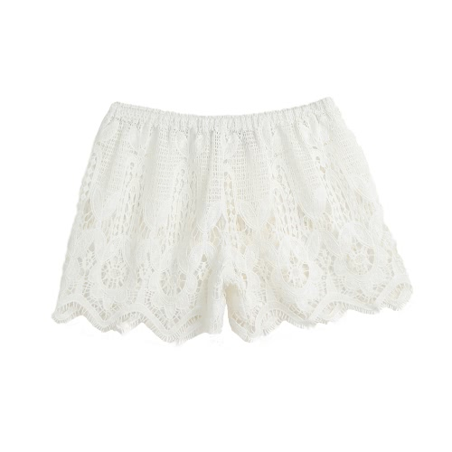 New Fashion Women Crochet Lace Shorts Hollow Elastic Waist Slim Bohemian Style Solid Hot Pants Black/White