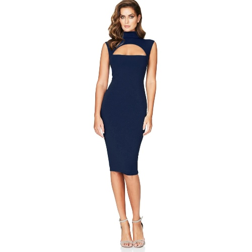 Sexy Hot Women Midi Tank Dress Solid Cut Out Front High Cowl Neck Sleeveless Bandage Bodycon Nightclub One-Piece