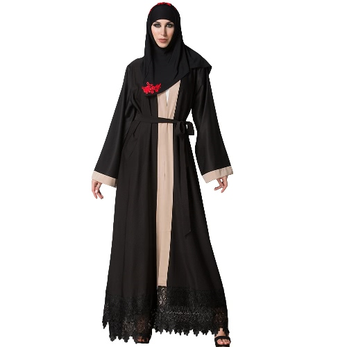 Mujeres más tamaño musulmán rebeca empalmados Crochet Lace Hem largo manga islámica Abaya Maxi vestido Outwear Negro